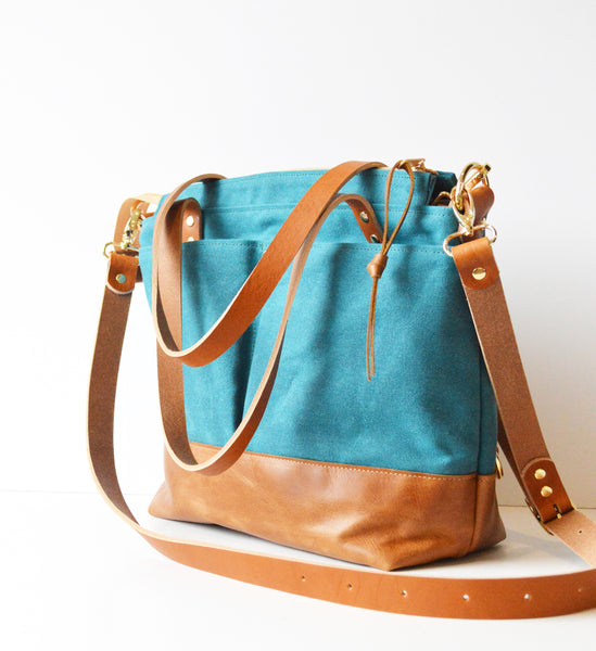 Diaper Tote Bag in Teal Waxed Canvas and Toffee Leather