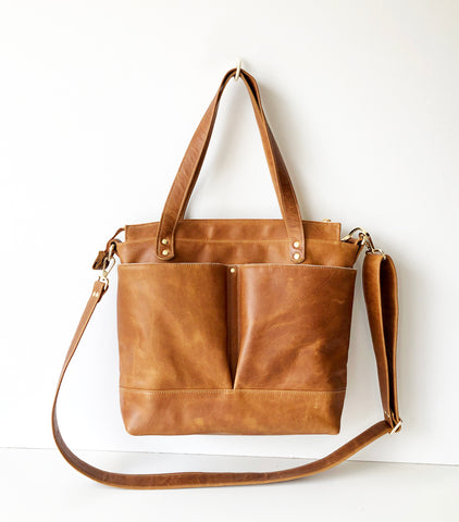 Toffee Tan Leather Diaper Tote Bag