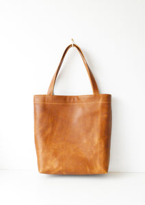 Classic Leather Tote Bag in Toffee