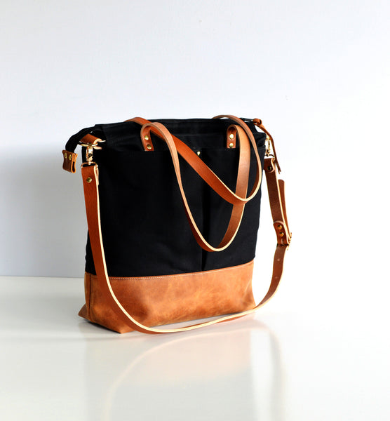 Black and tan leather diaper bag 2.jpg