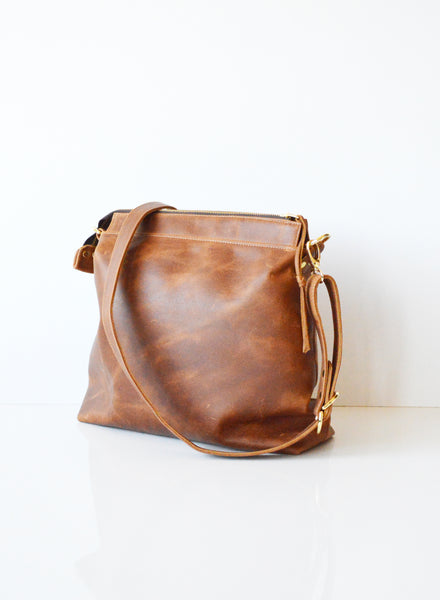 Tan leather hobo bag