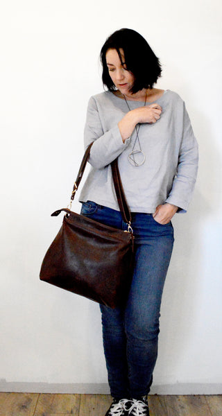 Dark Brown leather hobo bag