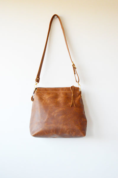 Handmade tan leather bag