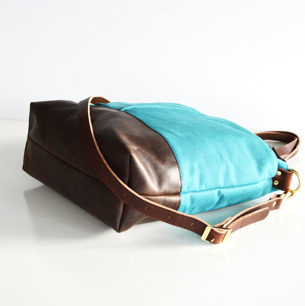 Teal and leather Diaper Bag 2.jpg