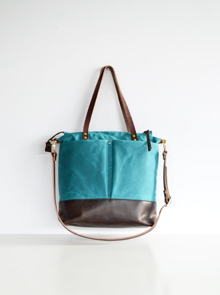 Teal and leather Diaper Bag 3.jpg