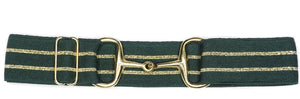 "Ellany 'Green & Gold Stripe' Belt - 1.5"" Gold Snaffle"