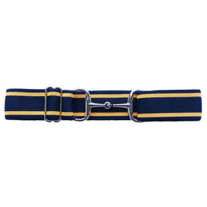"Ellany 'Navy & Orange' Stripes - 1.5"" Silver Snaffle Elastic Belt"