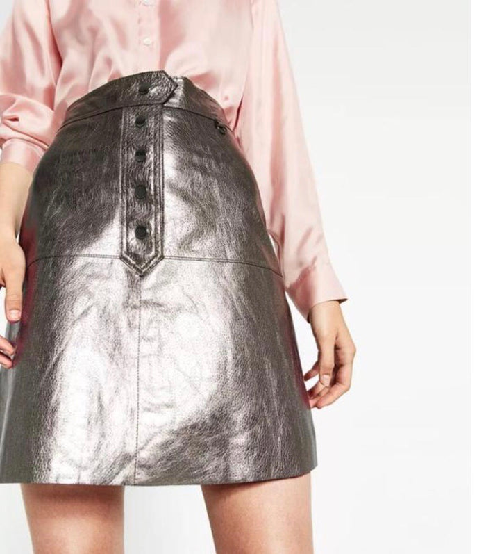 Zara aged silver metallic high waisted skirt Skirts Zara