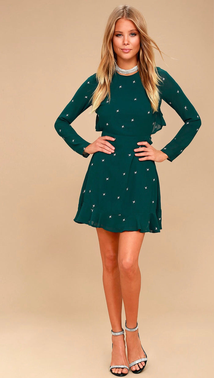Lulus Forest Green embroidered backless dress Dresses Lulus