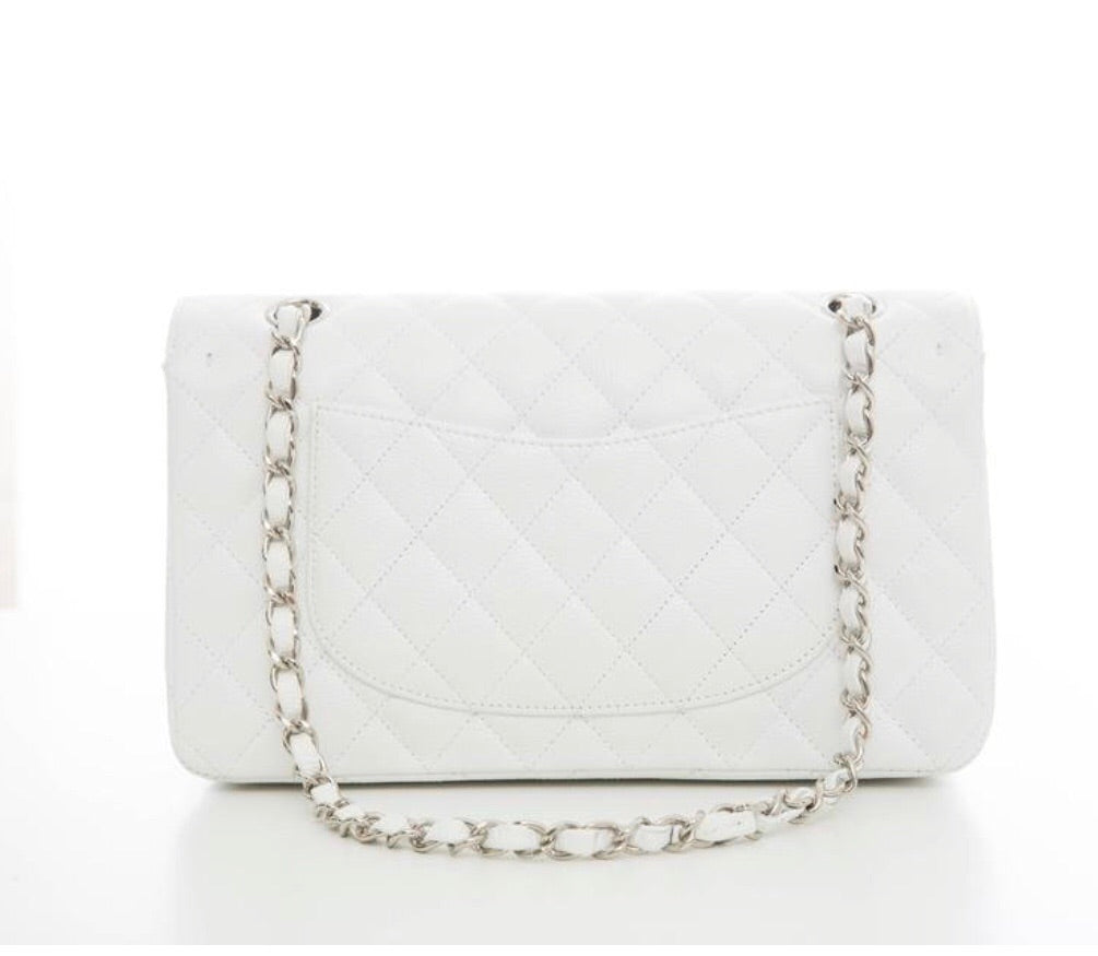 Chanel White Caviar Quilted Medium double Flap bag handbags Chanel