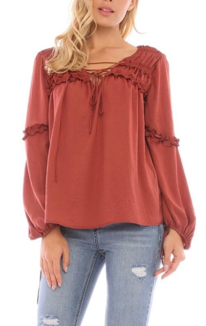 Current Air boho ruffle blouse in rust Tops Current Air