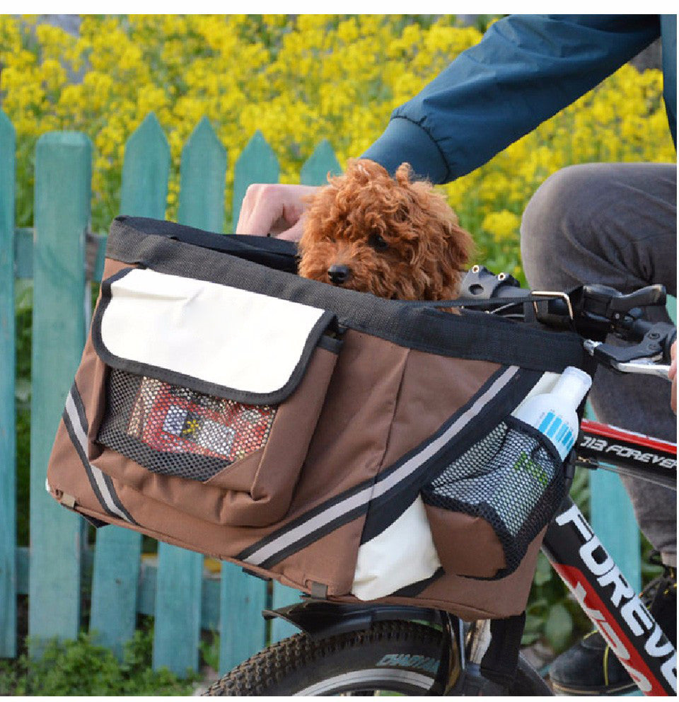 Pet Bicycle Basket Carrier for Small Dogs & Cats Travel