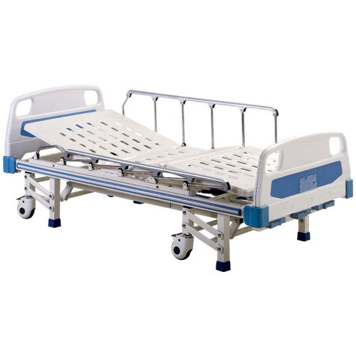 A4 Three Crank Manual Hospital Bed with Mattress, Side Railings and Wheels