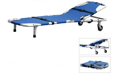 S1A3 One fold Stretcher with wheels, Head Adjustment and Safety Straps