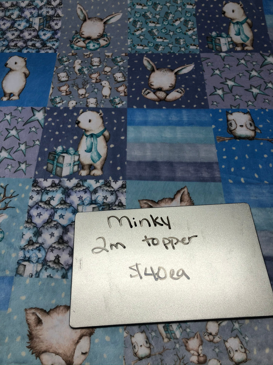 Winter Quilted Adult Blanket Topper, 2M, Minky