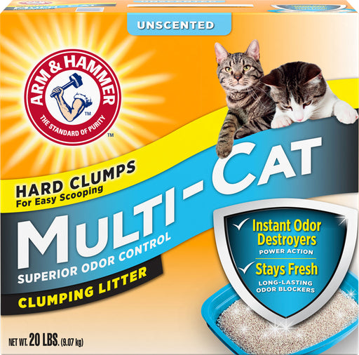 Church & Dwight Co Inc-Arm & Hammer Multi-cat Clumping Litter- Unscented 20 Pound - Key Pet Supplies