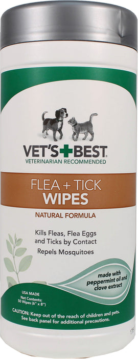 Bramton Company-Vet's+best Flea & Tick Wipes Dogs And Cats 50 Ct Dispenser - Key Pet Supplies