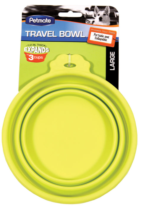 Petmate Inc - Silicone Round Travel Bowl For Dogs & Cats