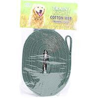 Coastal Pet Products-Train Right! Cotton Web Dog Training Leash- Green 20 Ft - Key Pet Supplies