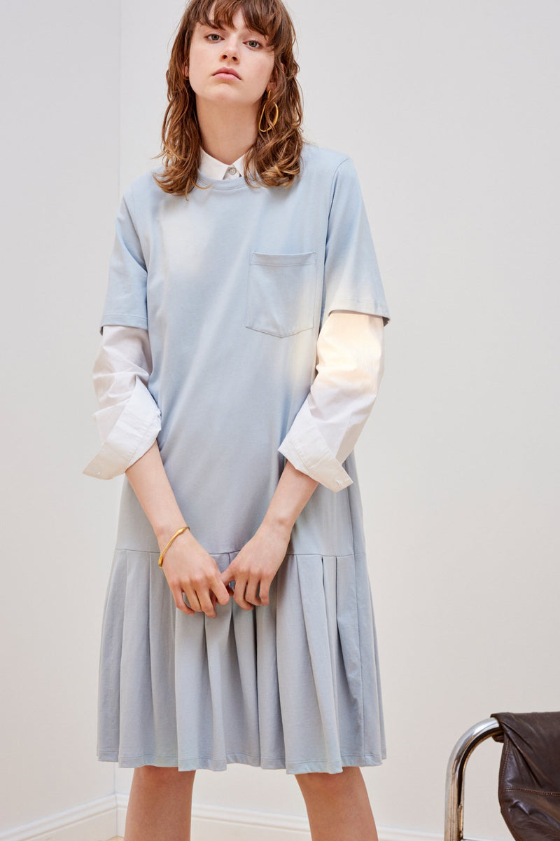 Building Block Pleated Tee Dress, Powder Blue