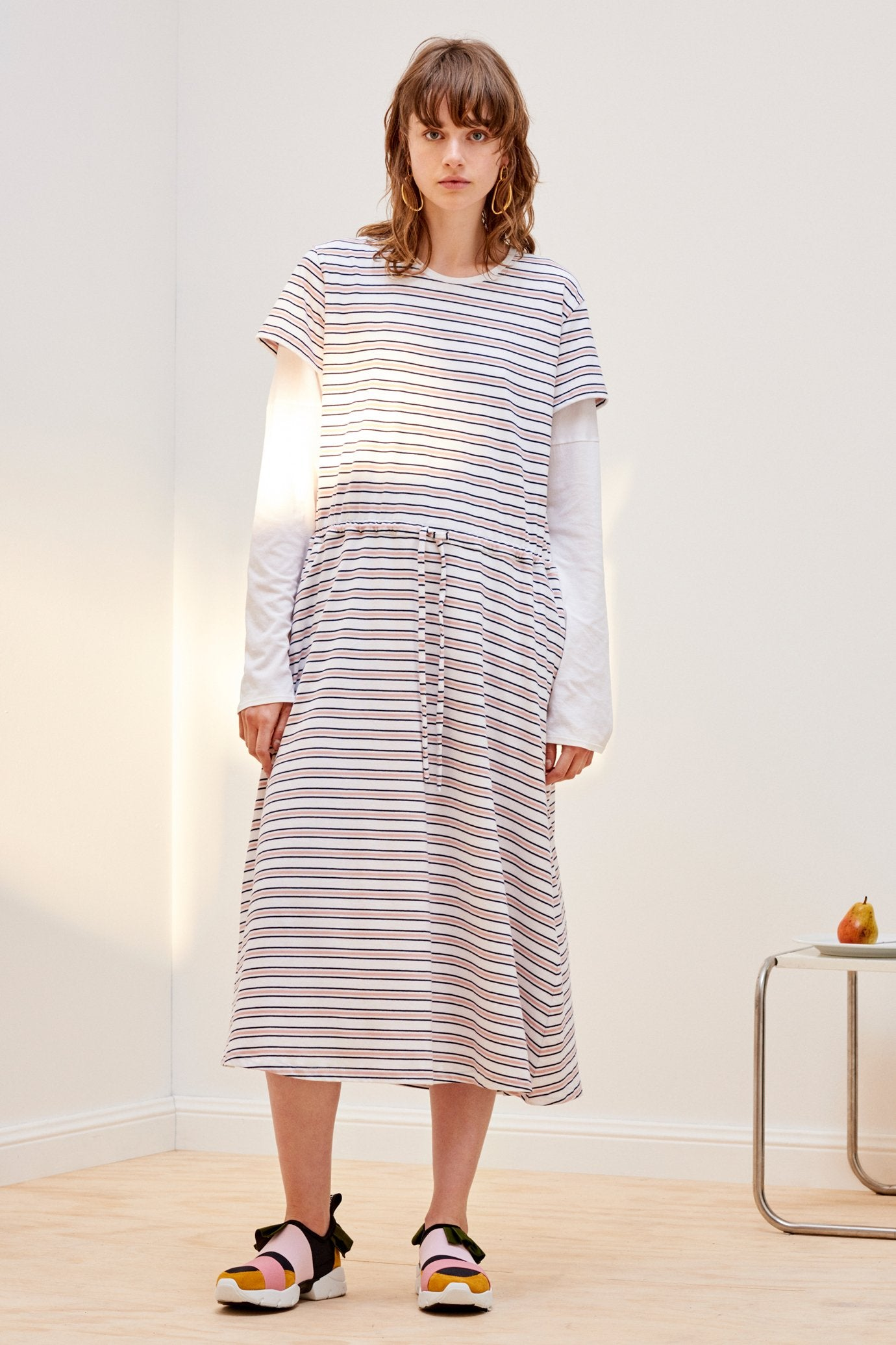 Building Block Tee Shirt Lounge Dress, Rose Navy Stripe