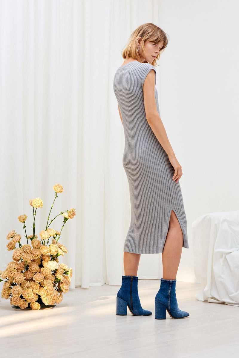 Knitted Rib Tank Dress, Grey Marle