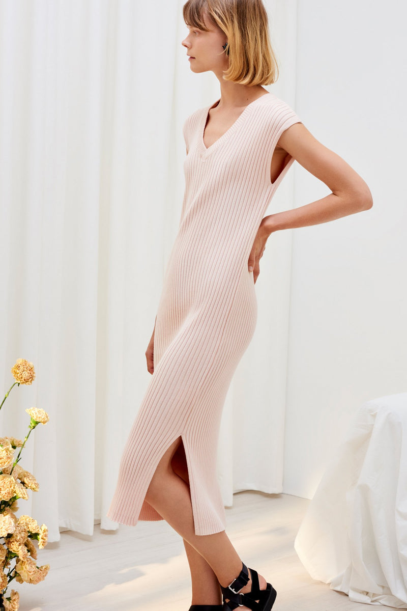 Knitted Rib Tank Dress, Light Pink