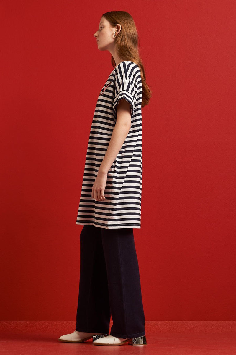 Movement Dress, Navy Stripe