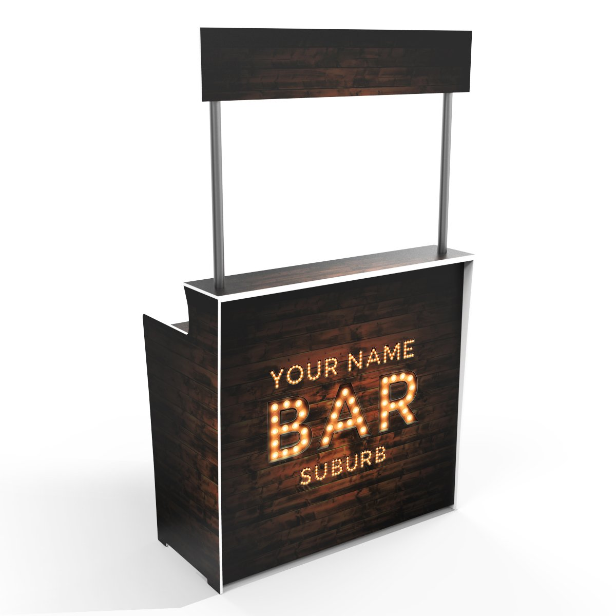 'Up In Lights' Your Bar Sign on Dark Timber Grain 'Pop Up Bar'