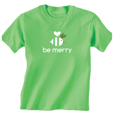 Youth Be Merry Green Holiday T Shirt