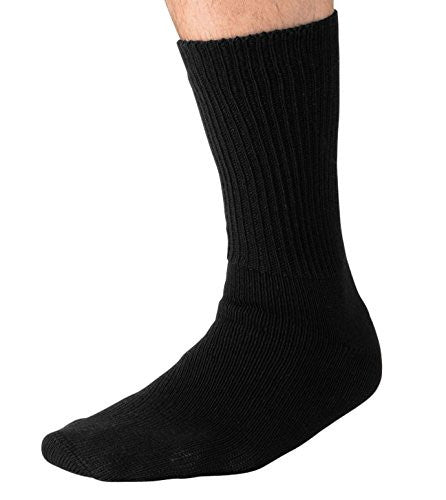 Grandeur Hosiery Men's Big and Tall King Size Diabetic Non-Binding Comfort Top Mid Calf Cotton Crew Socks 3-Pack Black Large
