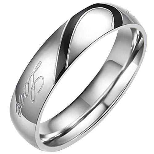 "Flongo Men's Black ""Real Love"" Heart Matching Stainless Steel Couples Engagement Ring Promise Band, Size 10"