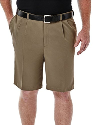 Haggar Big Men Cool 18 Microfiber Pleat Golf Shorts (Taupe 58)