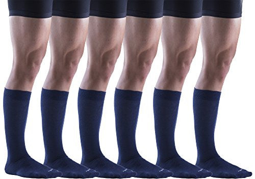 Kingly Mens Solid King Size Big and Tall Dress Socks (Navy (6 Pairs))