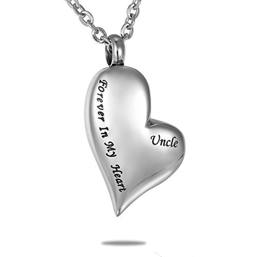 "HooAMI ""Forever In My Heart Uncle"" Cremation Urn Necklace Pendant Memorial Keepsake"