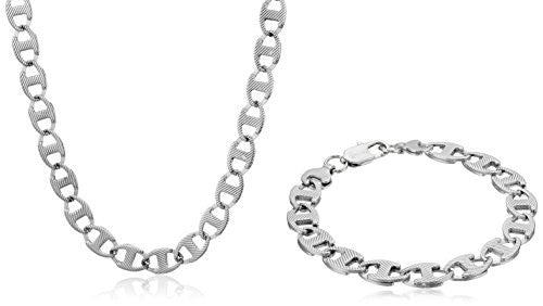Men's Stainless Steel Flat Link Chain Necklace
