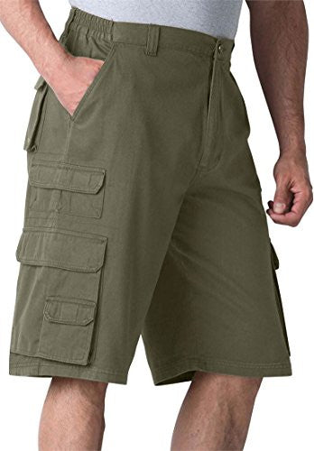 Boulder Creek Men's Big & Tall Ranger Side Elastic Cargo Shorts, Olive Big-50