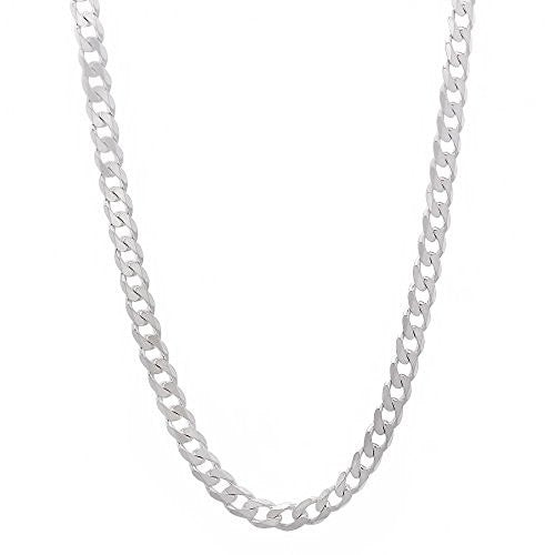 Happy Gogou Men's Jewelry 4mm 925 Sterling Silver Cuban Link Curb Chain Necklace
