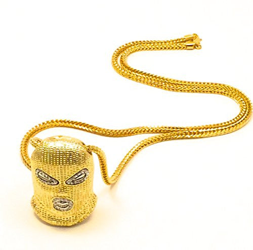 "Mens Hip Hop Iced Out Gold Goon Ski Mask Pendant W/ 36"" Franco Chain Necklace"