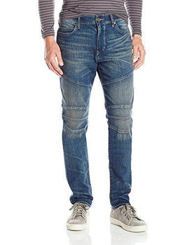 True Religion Men's Rocco Relaxed Skinny Fit Basic Moto Biker Jean, Dusty Rider, 30