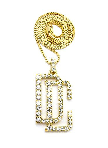 "ICED OUT DREAM CHASERS 'DC' PENDANT &24"" BOX/CUBAN CHAIN HIP HOP NECKLACE XZP48G (Box Chain)"