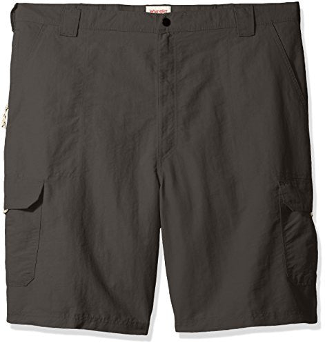 Wrangler Men's Big and Tall Authentics Outdoor Nylon Cargo Short, Asphalt, 48