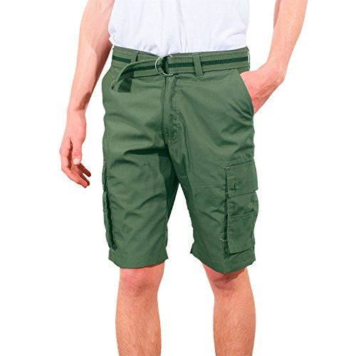Blue Gear Mens Big And Tall Belted Cell Phone Pocket Cargo Shorts (Olive,38)