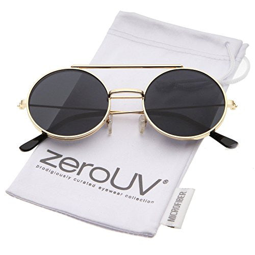 zeroUV - Mid Size Flip-Up Neutral-Colored Lens Round Django Sunglasses 49mm (Gold / Smoke)