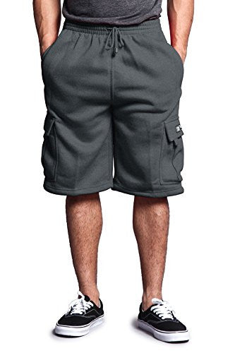 G-Style USA Men's Solid Fleece Cargo Shorts DFP1 - CHARCOAL - 4X-Large