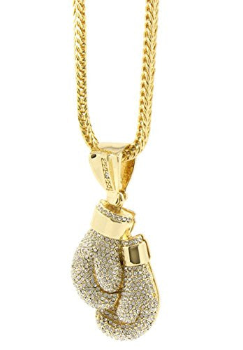 "Mens Gold Plated Iced Out Hip Hop Boxing Gloves Pendant 36"" Inch Franco Chain A13"