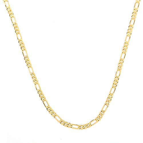 "Mens 24k Gold Plated Italian Figaro Link Chain Necklace Length 23.62"",Width 3mm-9mm (9)"