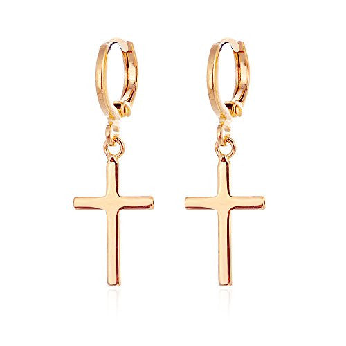 24k Yellow Gold Plated Mens Cross Hoop Earrings with Snap Closure