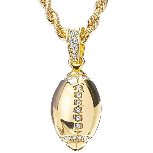 "Men's 14K Gold Plated Iced Out Yellow Gold Tone NFL Football Pendant Rope Chain 24"" HC 1120 G"