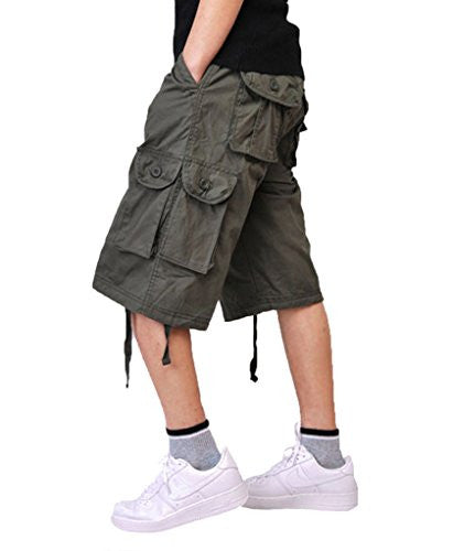 Tortor 1bacha Mens' Rugged Multi Pocket Cargo Shorts ArmyGreen 44